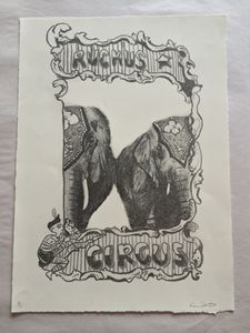Vintage Insp Circus Elephant Poster