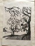 Original Print Hand Pulled Woodcut