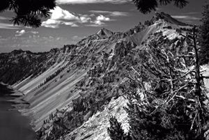 Crater Lake in Black & White