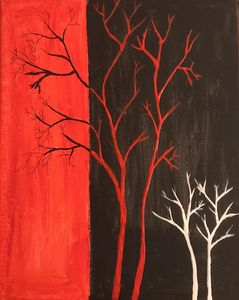 Red, black and white painting