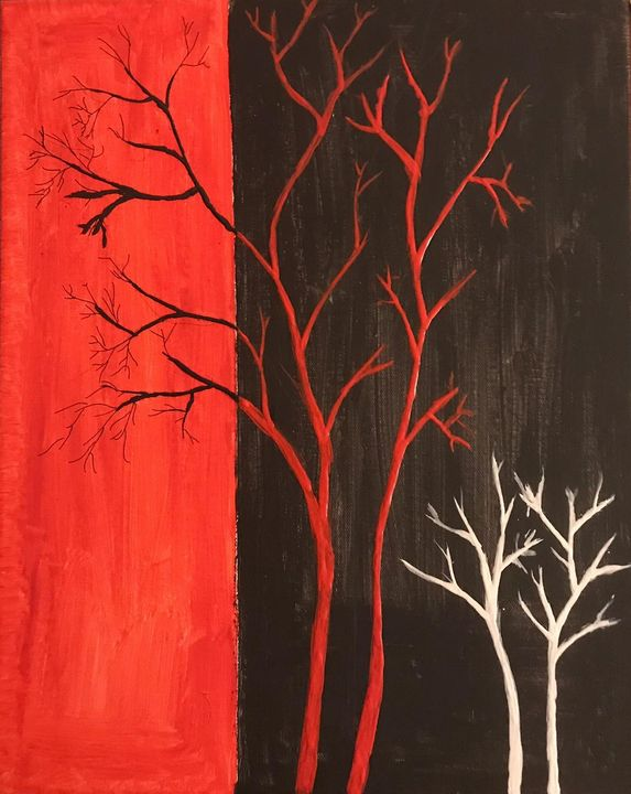 Red, black and white painting - Shivam's Gallery