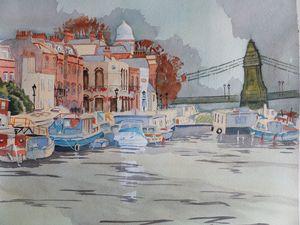 Houseboats Near Hammersmith Bridge