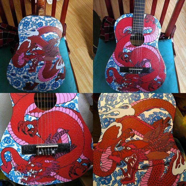 Dragon guitar - Rafael Colon skateboard art