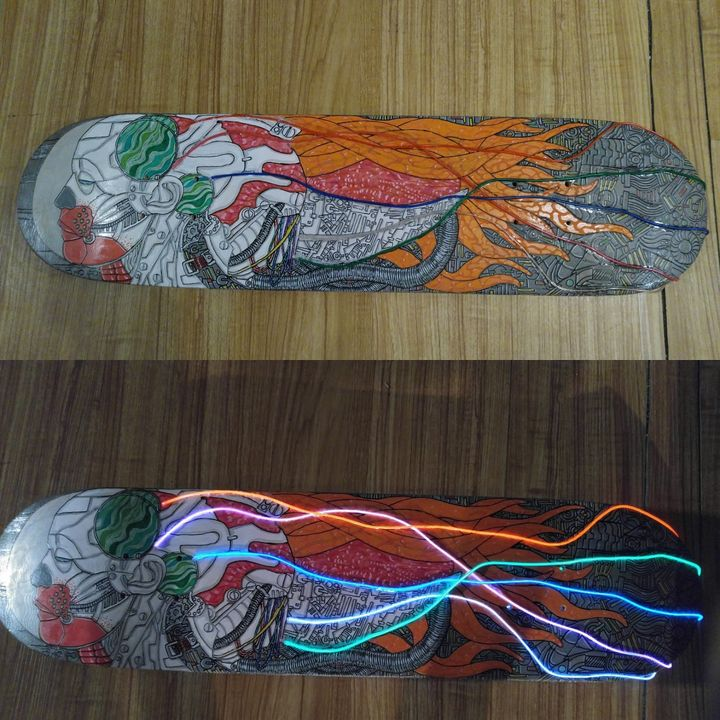 Cyberpunk with LED lights - Rafael Colon skateboard art