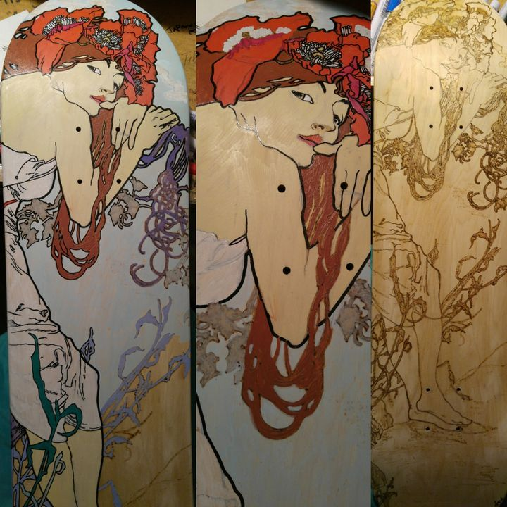 Summer by Mucha - Rafael Colon skateboard art