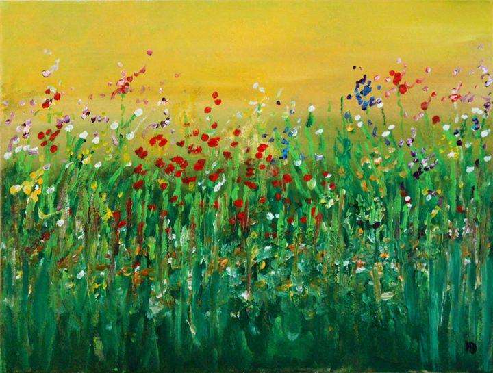 Flowers under yellow sky - Art by Joanna DeRitis