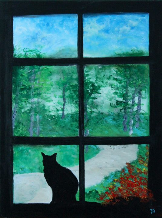 Cat in the window - Art by Joanna DeRitis
