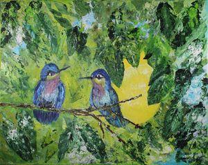 Hummingbirds in a Lemon Tree