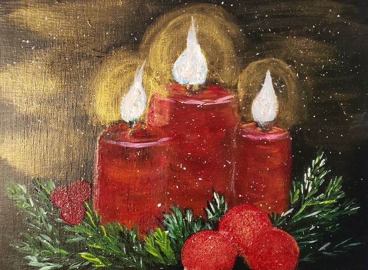 Christmas Candles Golden Glow - Living Art by Brenda
