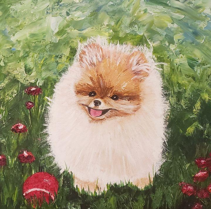 Pumpkin Pomeranian Puppy Red Ball - Living Art by Brenda