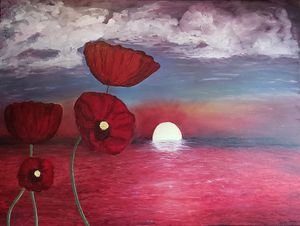 Poppies at Sunset Oil Painting