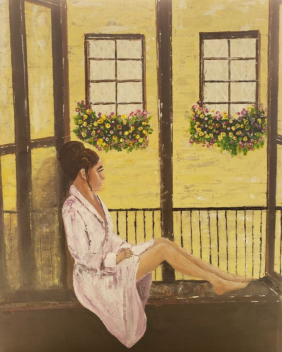 Young Woman Waiting in the Window. - Living Art by Brenda