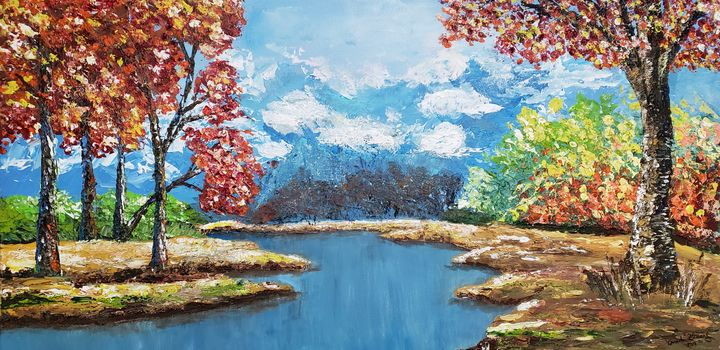 Autumn Leaves by the River - Living Art by Brenda