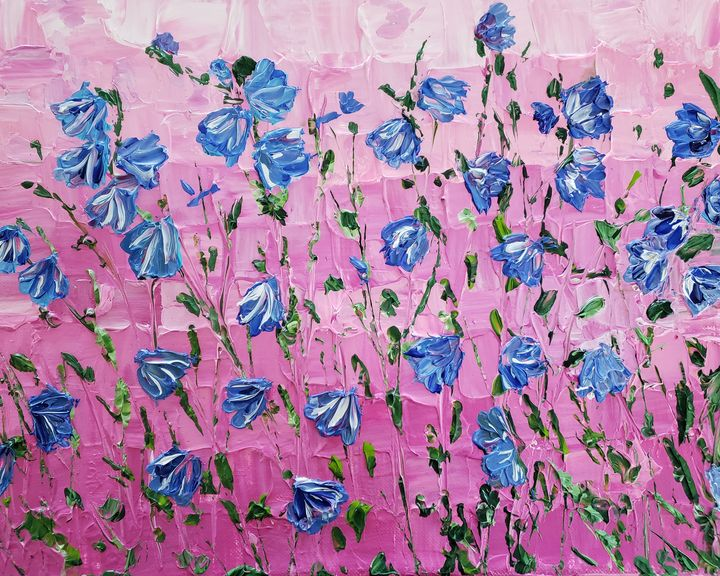 Blue Abstract Flowers Pink Ombre Bac - Living Art by Brenda