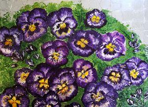 Purple Pansies with Silver Basketwea