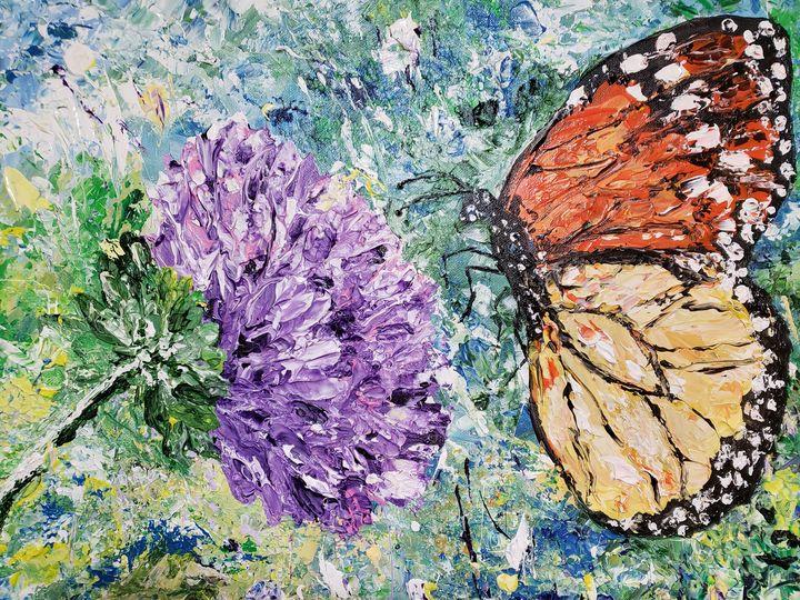 Purple Wildflower Monarch Butterfly - Living Art by Brenda