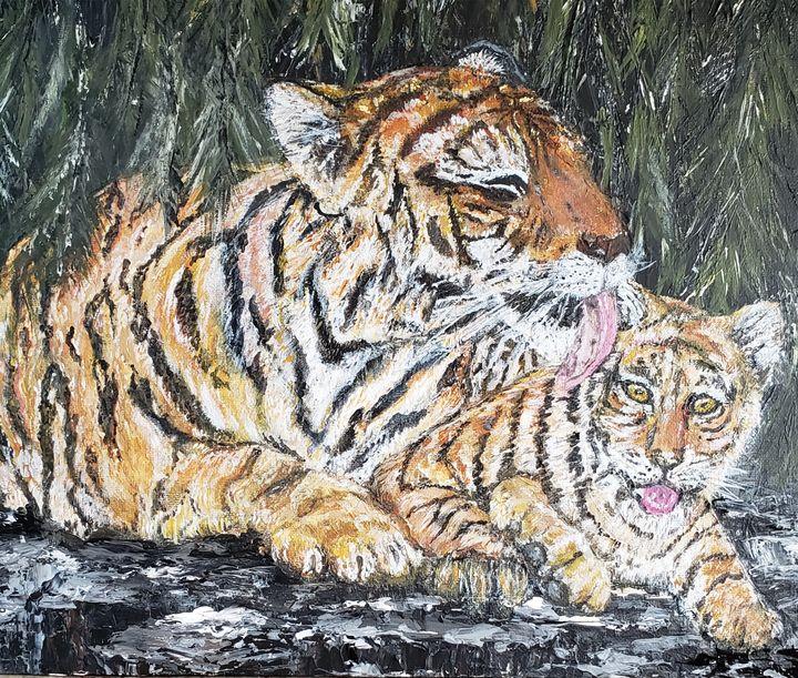 Tiger Mom Grooming Cub - Living Art by Brenda