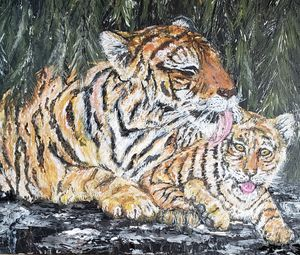 Tiger Mom Grooming Cub - Living Art by Brenda