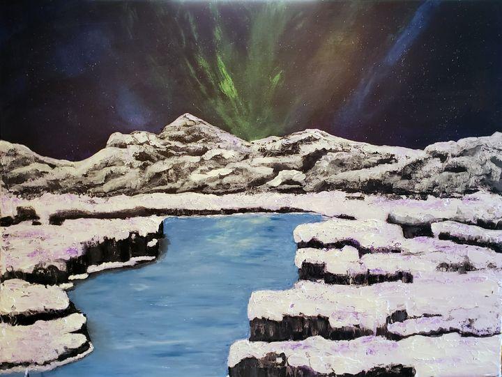 Aurora Borealis over the Fjords - Living Art by Brenda