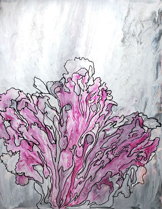\Abstract Pink Flowers Gray Marble - Living Art by Brenda