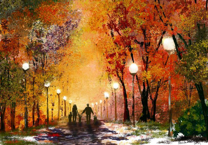 Family Autumn Walk - Living Art by Brenda