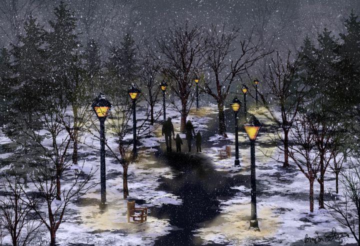 Winter Walk in the Snow - Living Art by Brenda