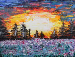 Sunset and WIld Flower Meadow