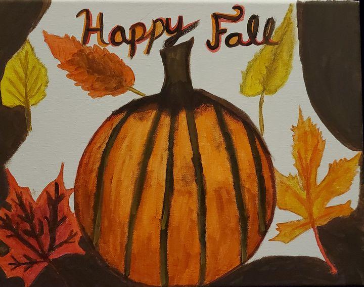 Fall Acrylic Painting - Scarlet Moonlight