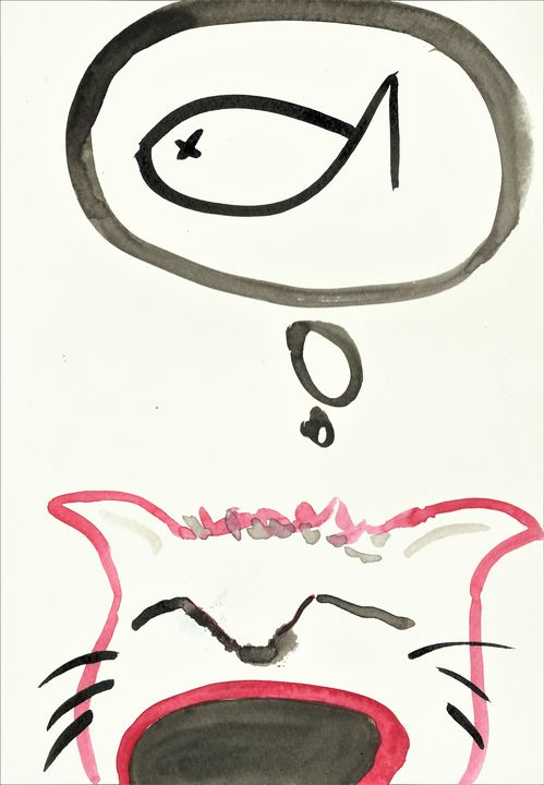 Hungry Cat - Felizia Bade ArtGallery