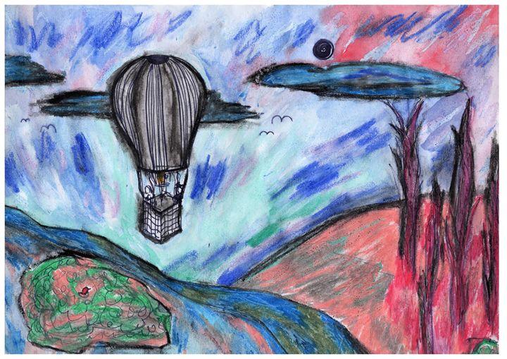 Balloon Ride in Van Gogh Landscape - Felizia Bade ArtGallery