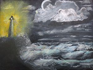Lighthouse_Storm at sea