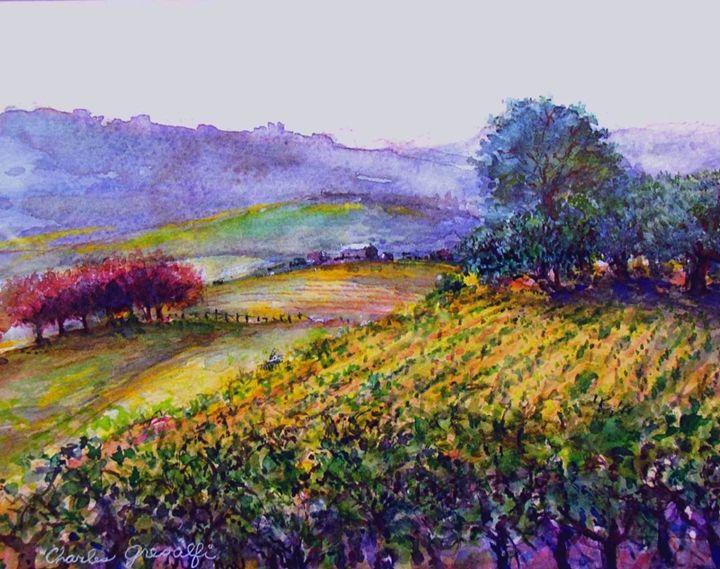 Nun's Canyon Road Watercolor by Char - Charles Gresalfi Fine Art