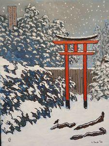 torii gate in snow