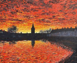 sunset, anstruther wester