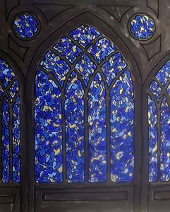 stained glass window blue gold