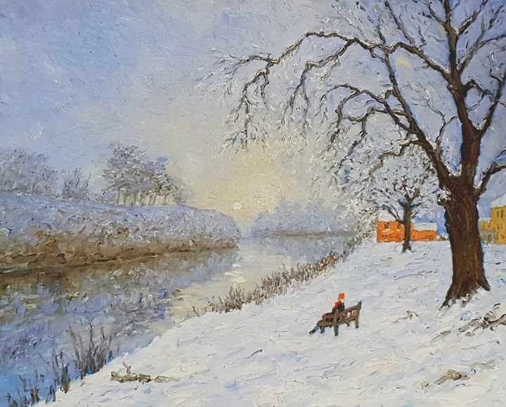 snow scene by the river - colin ross jack