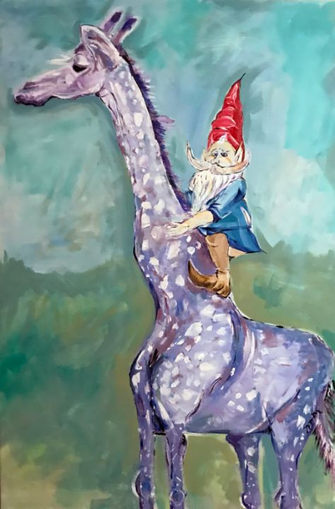 Gnome rides giraffe - Neil Travis Mayes