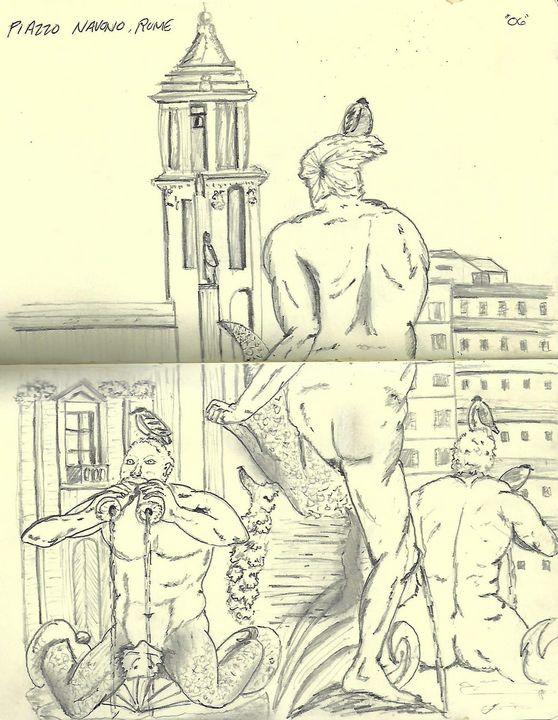 Man in Rome Courtyard - Neil Travis Mayes