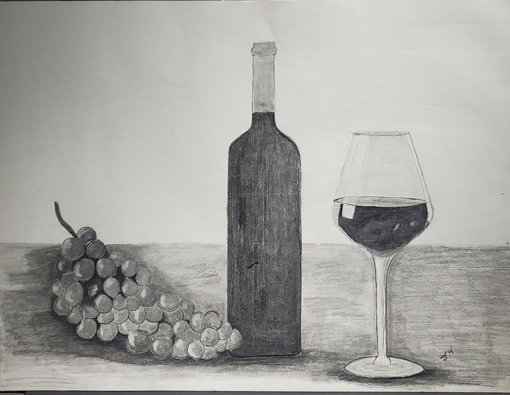 Wine with grapes and glass - HRIBER ART