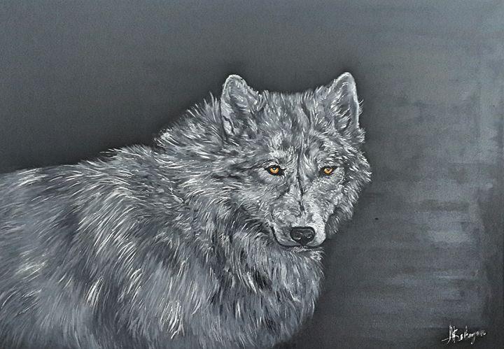 Wolf .Wild. Animal.Oil on canvas. - AleksBabayanArt