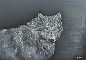 Wolf .Wild. Animal.Oil on canvas.