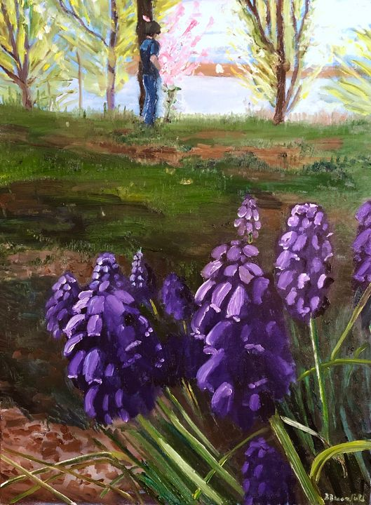 Grape Hyacinths at Misty Lake - Blandine Broomfield