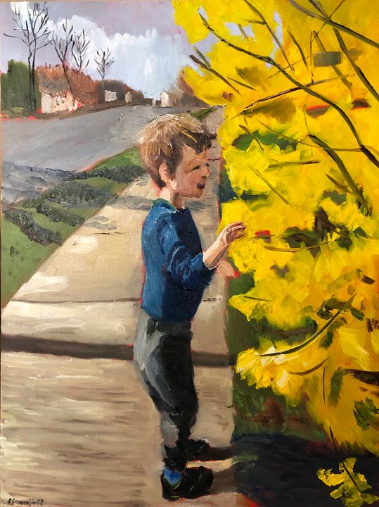 Morgan and the Forsythia - Blandine Broomfield