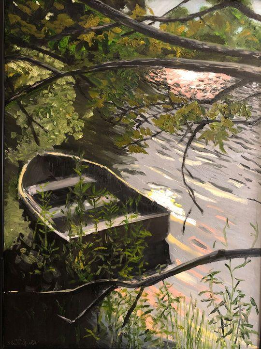 Boat on Misty Lake - Blandine Broomfield