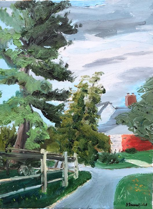 Schoolpath Tree with Fence - Blandine Broomfield