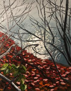 Red Leaves by Misty Lake