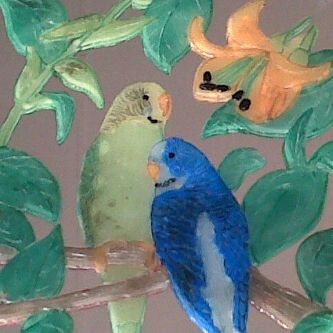 Budgies - Marcelle's Wax Paintings
