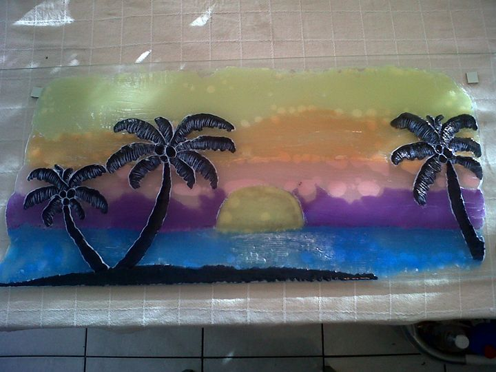 Paradise sunset - Marcelle's Wax Paintings