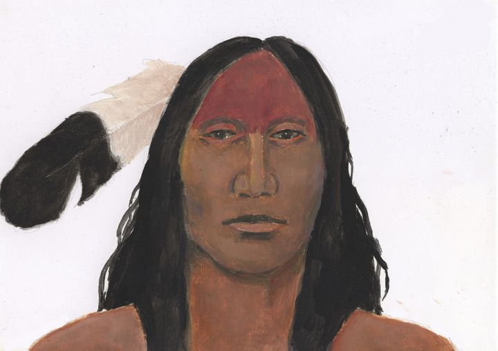 American Indian With Eagle Feather - Leif Bakka