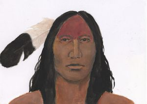 American Indian With Eagle Feather